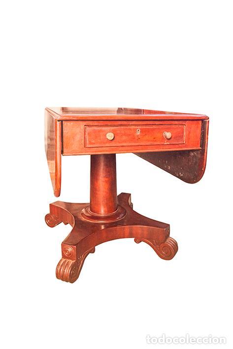 Antigüedades: Mesa de Comedor - Victoriana - Madera de Caoba - 2 Alas y Cajón - 107 cm Largo, 117 Ancho - S. XIX - Foto 6 - 80180205