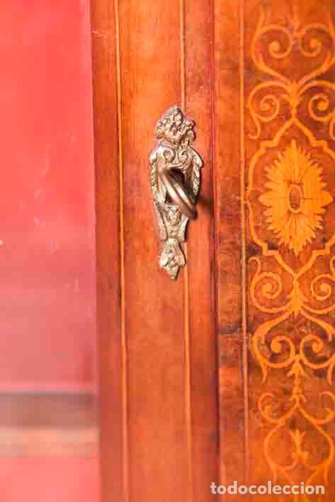 Antigüedades: Antigua Credenza - Aparador - Trinchante - Bufete - Raíz y Marquetería - Puertas Cristal Bombeado - Foto 5 - 80187857