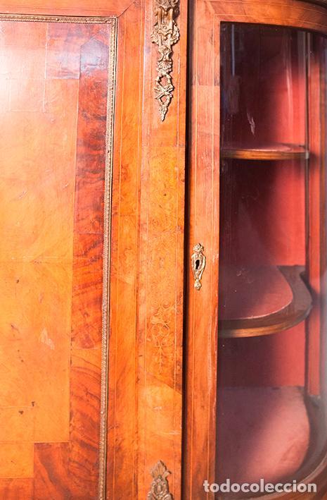 Antigüedades: Antigua Credenza - Aparador - Trinchante - Bufete - Raíz y Marquetería - Puertas Cristal Bombeado - Foto 10 - 80187857
