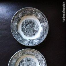 Antigüedades: CARTAGENA 2 PLATOS SOPEROS LA CAZA DEL CIERVO DOBLE SELLO CARTAGENA VALARINO. Lote 80198137