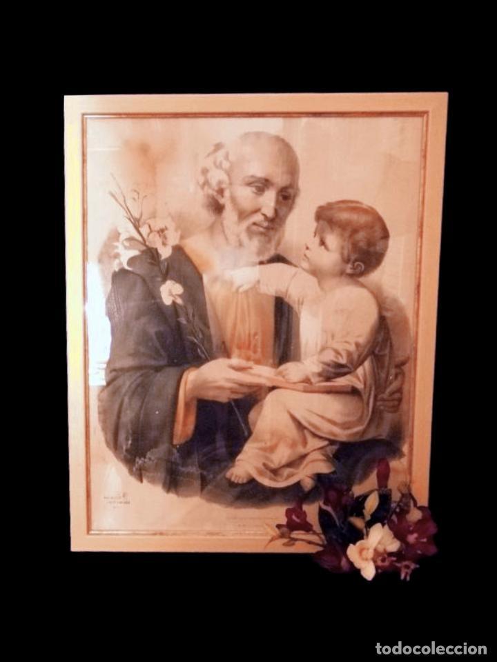 MARAVILLOSO Y ANTIGUO SAN JOSÉ CON EL NIÑO JESÚS. (Antigüedades - Religiosas - Varios)