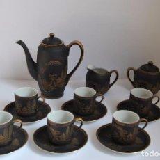 Antigüedades: JUEGO DE CAFÉ DE 6 PORCELANA - TÉ JAPÓN KUTANI - COMPLETO - IMAGEN FONDO TAZA - GEISHA - SATSUMA. Lote 80314501