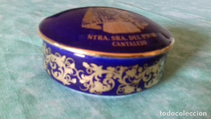 Antigüedades: Joyero de PORCELANA FIRMADO: ANGULO, ARANDA DE DUERO (BURGOS),azul cobalto con oro - Foto 3 - 80318261