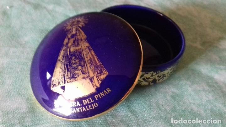 Antigüedades: Joyero de PORCELANA FIRMADO: ANGULO, ARANDA DE DUERO (BURGOS),azul cobalto con oro - Foto 4 - 80318261