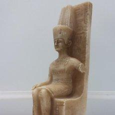 Antigüedades: ESCULTURA ANTIGUA DE ALABASTRO O RESINA DEL FARAON AMON RA. Lote 98200624