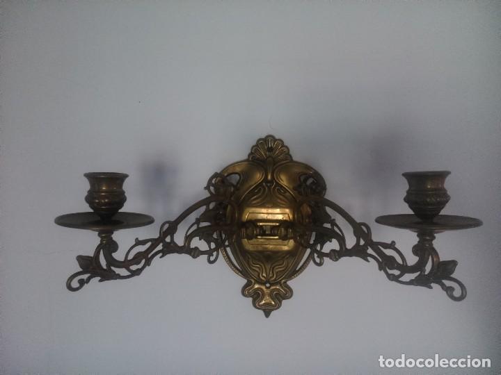 PAREJA DE APLIQUES DE PIANO. (Antigüedades - Iluminación - Apliques Antiguos)