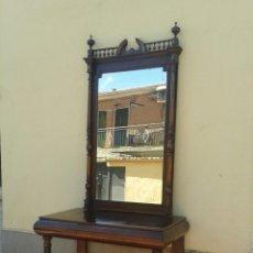 Antigüedades: GRAN ESPEJO ANTIGUO ESTILO ALFONSINO CON CONSOLA ANTIGUA ALFONSINA S. XIX.. Lote 80409489
