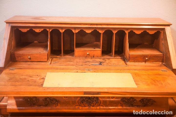 Antigüedades: Antiguo Canterano - Escritorio - Bombeado - Madera de Nogal -Marquetería -Tiradores de Bronce -S.XIX - Foto 6 - 80423269