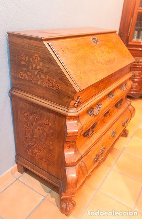 Antigüedades: Antiguo Canterano - Escritorio - Bombeado - Madera de Nogal -Marquetería -Tiradores de Bronce -S.XIX - Foto 12 - 80423269