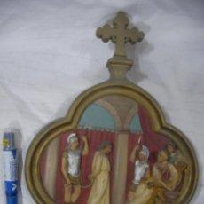 Antigüedades: ANTIGUA REPRESENTACION RELIGIOSA VIA CRUCIS ORIGINAL . Lote 80441273