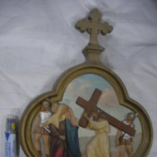 Antigüedades: ANTIGUA REPRESENTACION RELIGIOSA VIA CRUCIS ORIGINAL . Lote 80441345