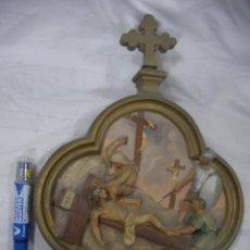Antigüedades: ANTIGUA REPRESENTACION RELIGIOSA VIA CRUCIS ORIGINAL . Lote 80441489