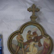 Antigüedades: ANTIGUA REPRESENTACION RELIGIOSA VIA CRUCIS ORIGINAL . Lote 80441557