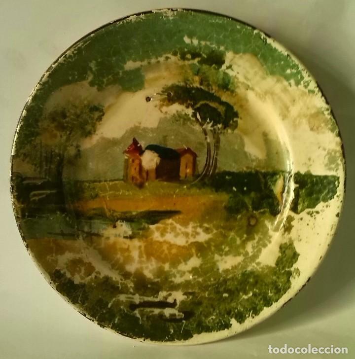 PLATO DE LOZA DECORADA (Antigüedades - Hogar y Decoración - Platos Antiguos)