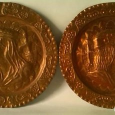Antigüedades: PAREJAS DE PLATOS DE COBRE. Lote 80506681