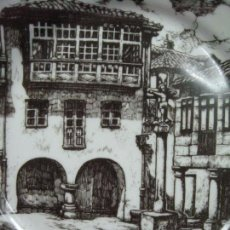 Antigüedades: PLATO PORCELANA ALEMANIA DECORADO PLAZA DE LA LEÑA PONTEVEDRA. Lote 80584130
