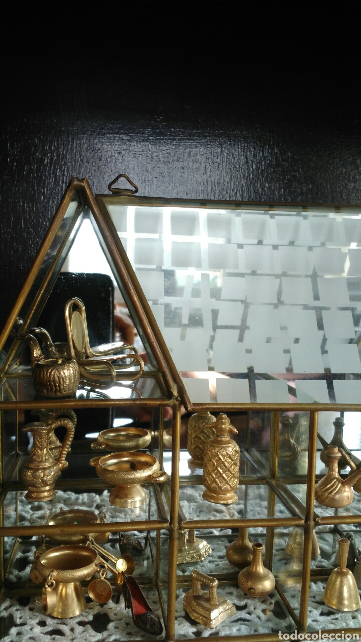 Antigüedades: Mueble miniaturas figuras bronce - Foto 3 - 80619243