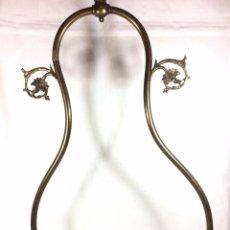Antigüedades: LAMPARA DE TECHO A GAS - APLIQUE DE FINALES DEL S.XIX EN LATON - ELECTRIFICADA. Lote 80736258