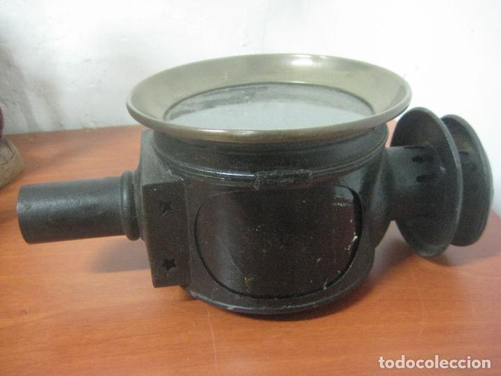 Antigüedades: GRAN FAROL DE CARRUAJE DE LOS AÑOS 20 EN HIERRO FORJADO Y BRONCE CON DOBLE CHIMENEA, 28 CMS DE ALTO, - Foto 13 - 83136258
