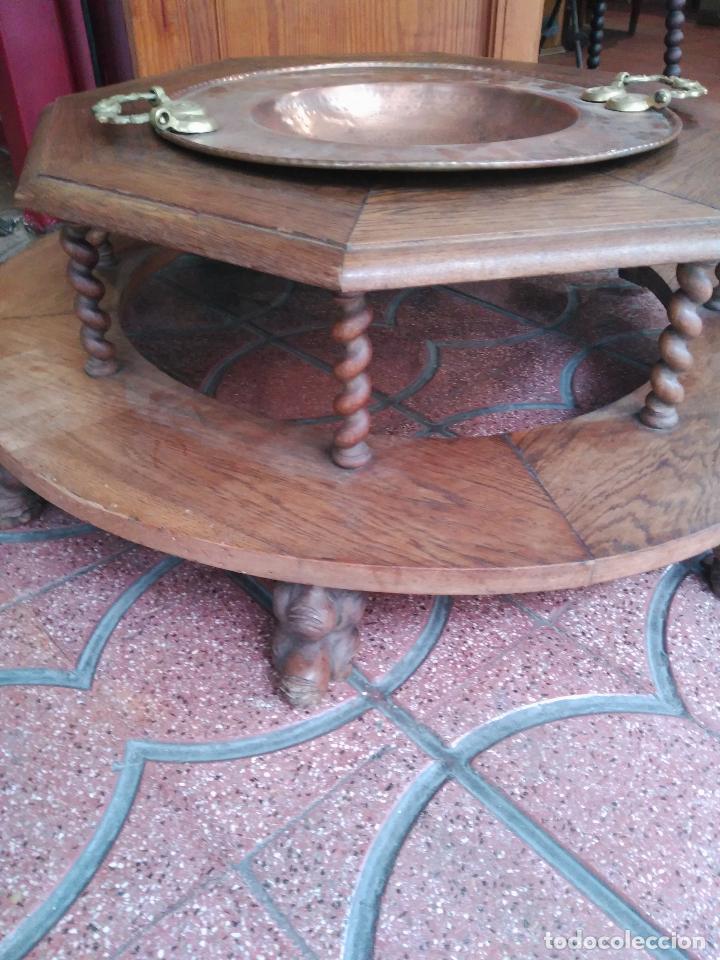 Antigüedades: INPRESIONATE Y ENORME BRASERO PALACIEGO PIE EN MADERA DE ROBLE SIGLO XVII TORNEADO PIES EN GARRAS - Foto 2 - 80749030