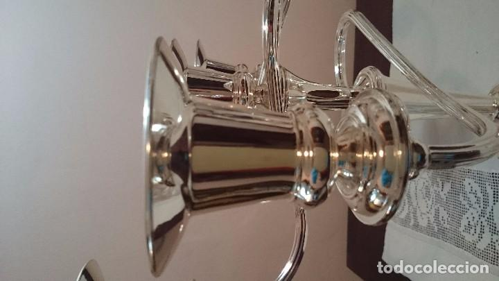 Antigüedades: CANDELABRO METAL PLATEADO - Foto 7 - 80767038