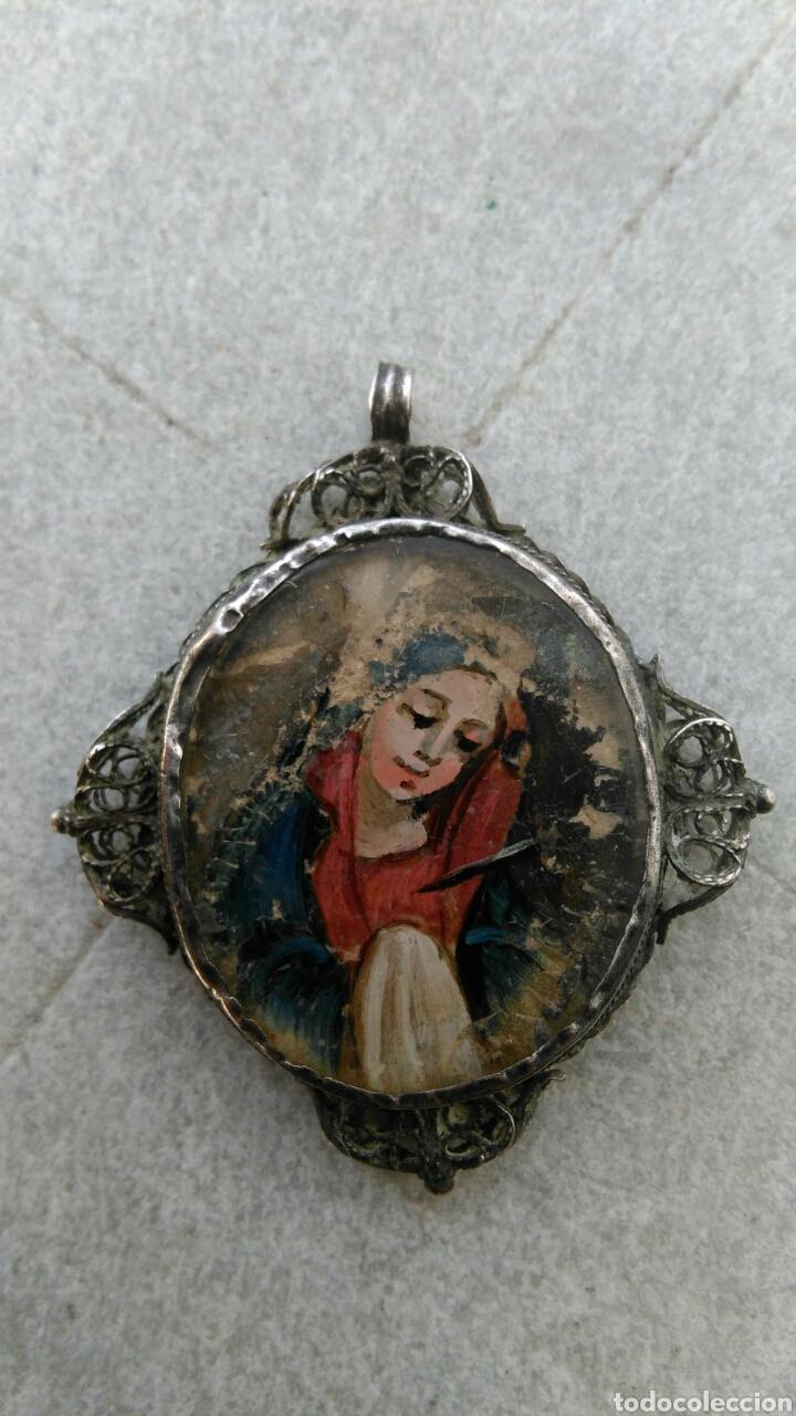 Antigüedades: ANTIGUO RELICARIO DE PLATA CON IMAGEN PINTADA - Foto 2 - 80780148