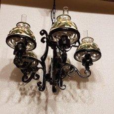 Antigüedades: LAMPARA DE FORJA Y CERAMICA. Lote 80792190