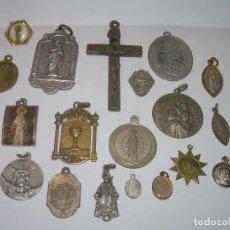Antigüedades: ANTIGUAS MEDALLAS Y CRUZ...TOTAL..21 UNIDADES.. Lote 80831863