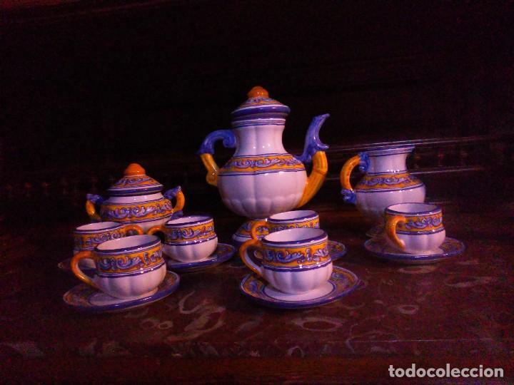 Antigüedades: Juego de cafe Talavera - Foto 2 - 80887123