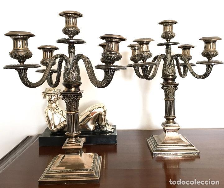PAREJA DE CANDELABROS DE PLATA (Antigüedades - Iluminación - Candelabros Antiguos)