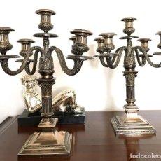 Antigüedades: PAREJA DE CANDELABROS DE PLATA. Lote 80902859