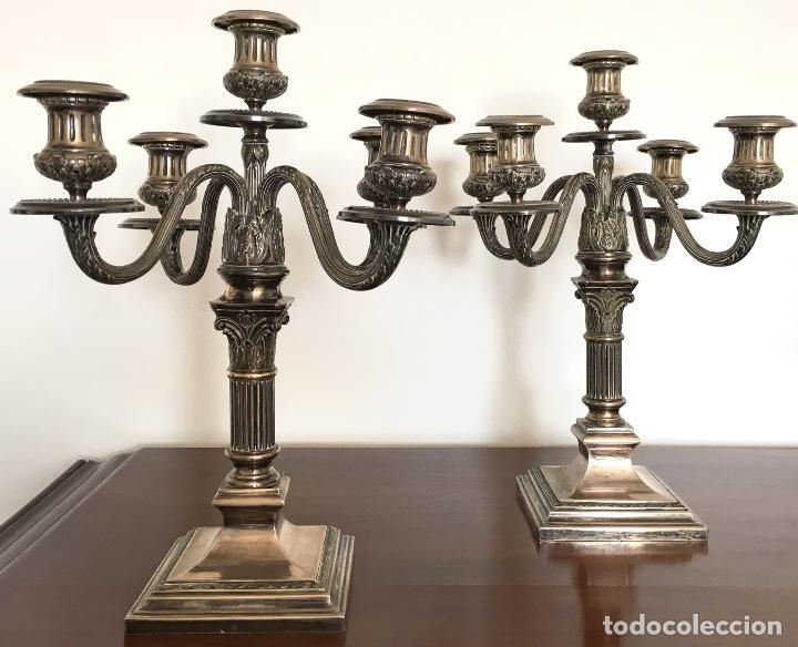 Antigüedades: Pareja de candelabros de plata - Foto 2 - 80902859
