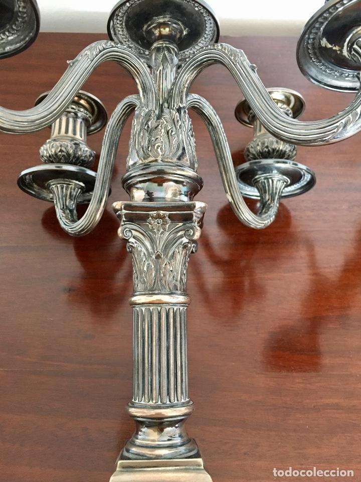Antigüedades: Pareja de candelabros de plata - Foto 5 - 80902859