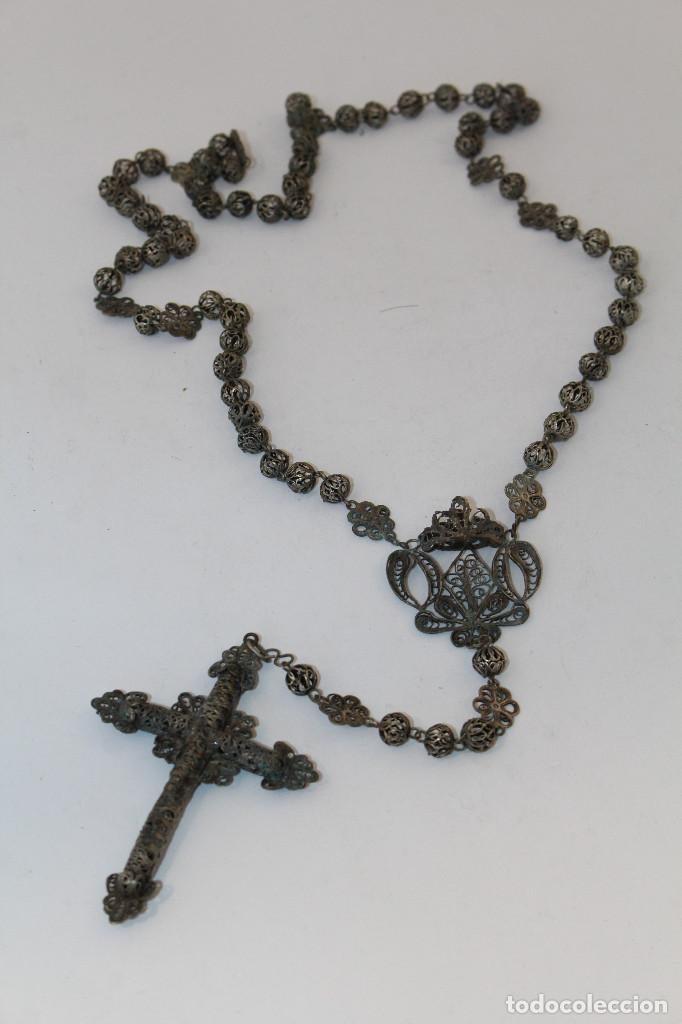 ROSARIO ANTIGUO EN FILIGRANA DE PLATA CON CUENTAS EN FILIGRANA (Antigüedades - Religiosas - Rosarios Antiguos)