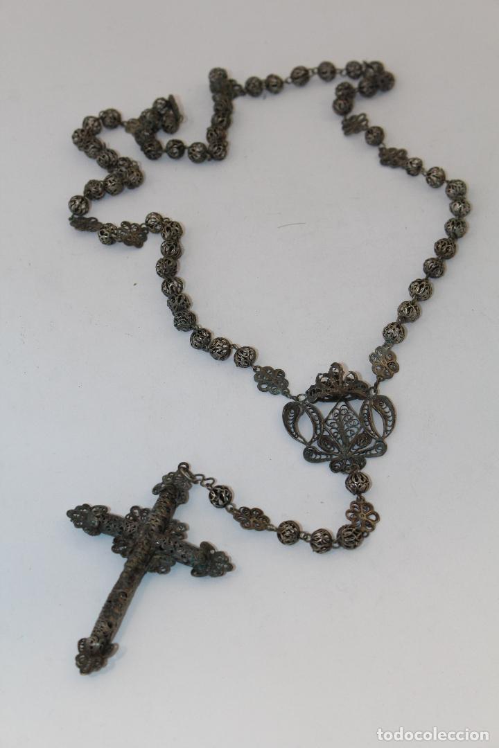 Antigüedades: rosario antiguo en filigrana de plata con cuentas en filigrana - Foto 2 - 83987996