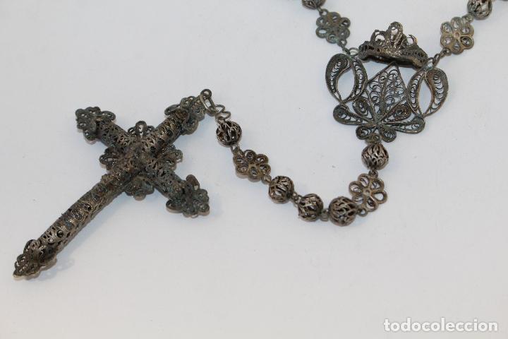 Antigüedades: rosario antiguo en filigrana de plata con cuentas en filigrana - Foto 3 - 83987996