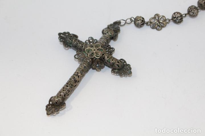 Antigüedades: rosario antiguo en filigrana de plata con cuentas en filigrana - Foto 4 - 83987996