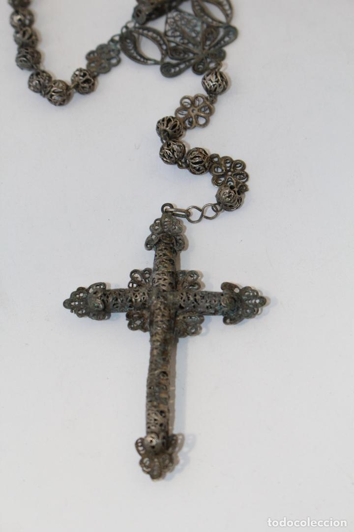 Antigüedades: rosario antiguo en filigrana de plata con cuentas en filigrana - Foto 5 - 83987996