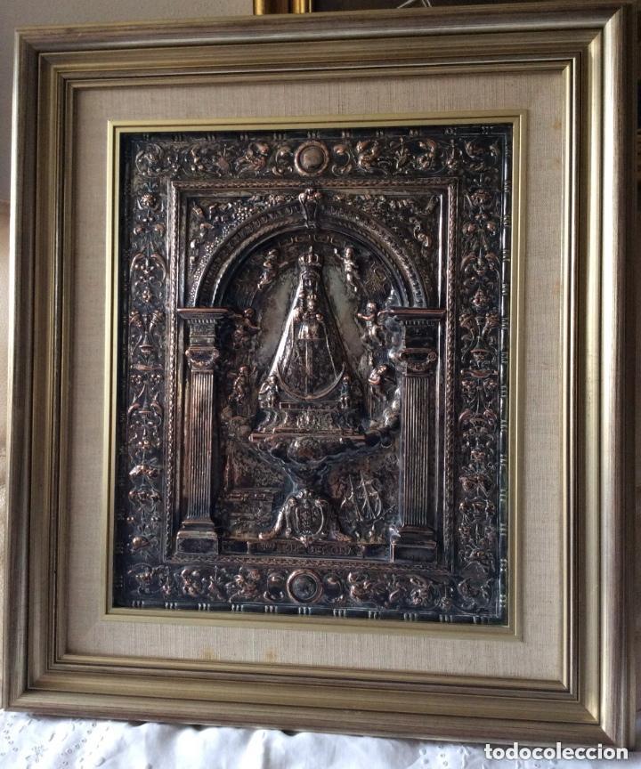 ANTIGUA PLACA DE LA VIRGÉN DE BEGOÑA REALIZADA EN COBRE CON BAÑO DE PLATA (Antigüedades - Religiosas - Orfebrería Antigua)
