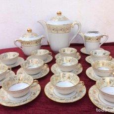 Antigüedades: JUEGO ANTIGUO DE CAFE EN PORCELANA SELLO LIMOGES. Lote 81004004