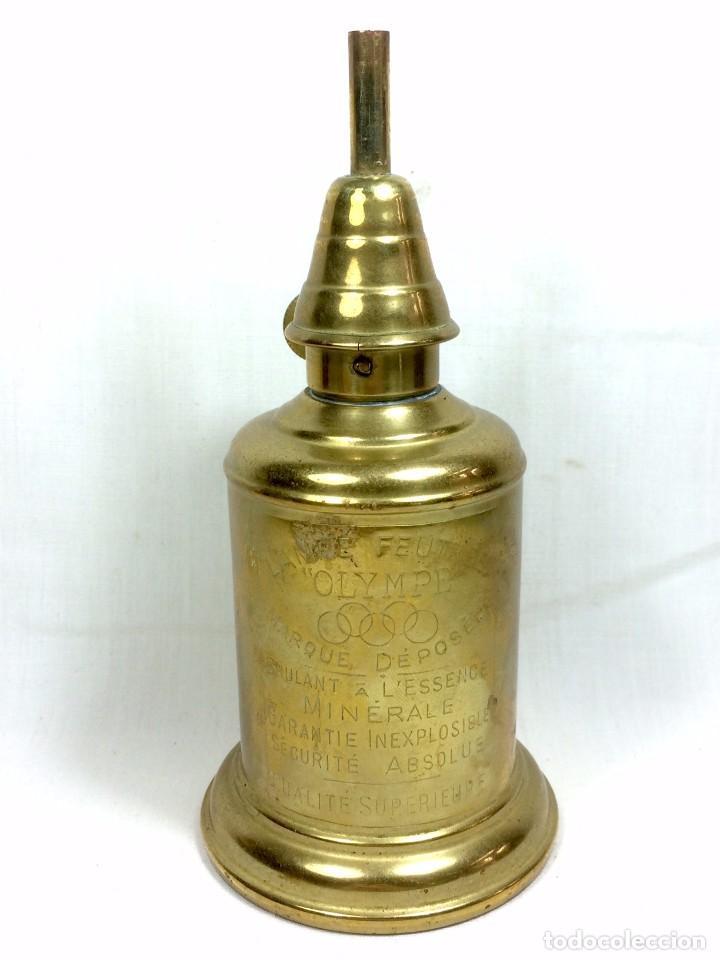 QUINQUÉ LAMPE OLYMPE EN LATÓN A L'ESSENCE MINERALE - FRANCIA S.XIX (Antigüedades - Iluminación - Quinqués Antiguos)