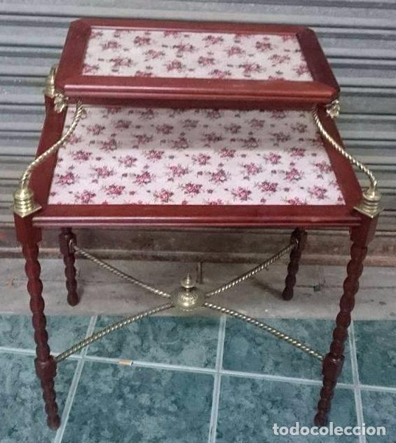 Antigüedades: Preciosa Mesa auxiliar , caoba, cristal y bronce , Unica. - Foto 3 - 57243634