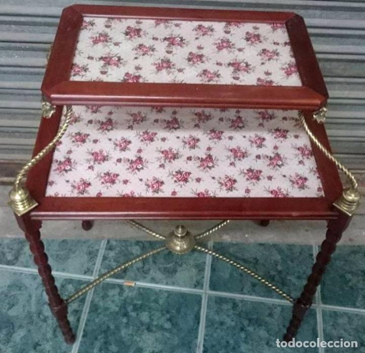 Antigüedades: Preciosa Mesa auxiliar , caoba, cristal y bronce , Unica. - Foto 4 - 57243634
