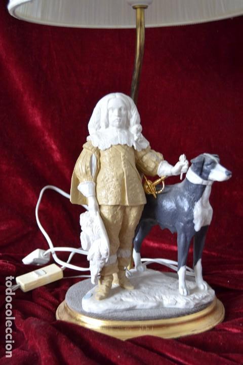Antigüedades: lampara con figura de Antonio el Ingles en porcelana algora - Foto 2 - 81035328