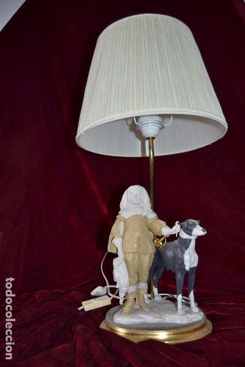 Antigüedades: lampara con figura de Antonio el Ingles en porcelana algora - Foto 3 - 81035328