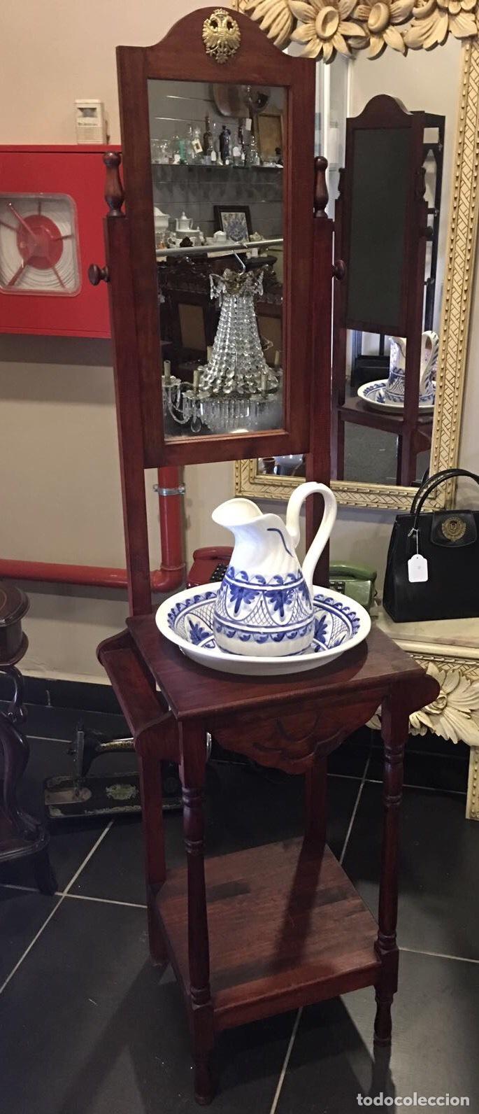 lavamanos tocador de madera con espejo y ceramica antigedades muebles antiguos auxiliares