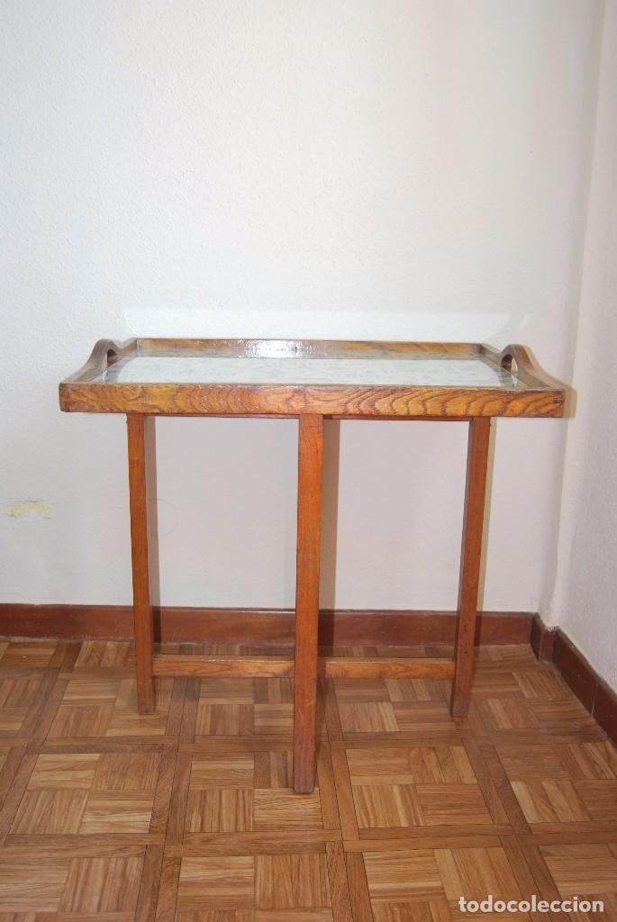 Antigüedades: PRECIOSA MESA AUXILIAR DE MADERA DE ROBLE - PLEGABLE - BANDEJA - AÑOS 30-40 - Foto 3 - 81062616