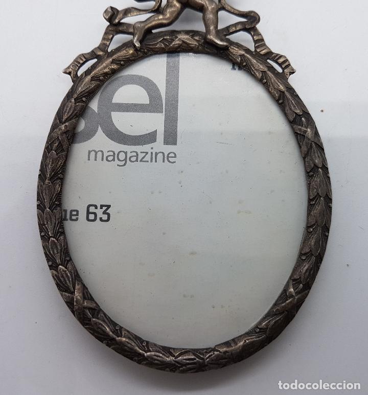 Antigüedades: Bello marco de fotos antiguo en plata de ley contrastada de estilo roccoco con querubín en relieve . - Foto 3 - 81116596