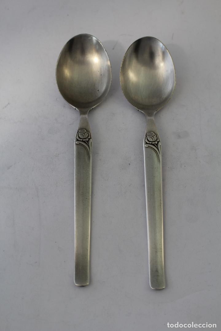 Antigüedades: 2 cucharas con plata de ley punzonada - Foto 3 - 86075834