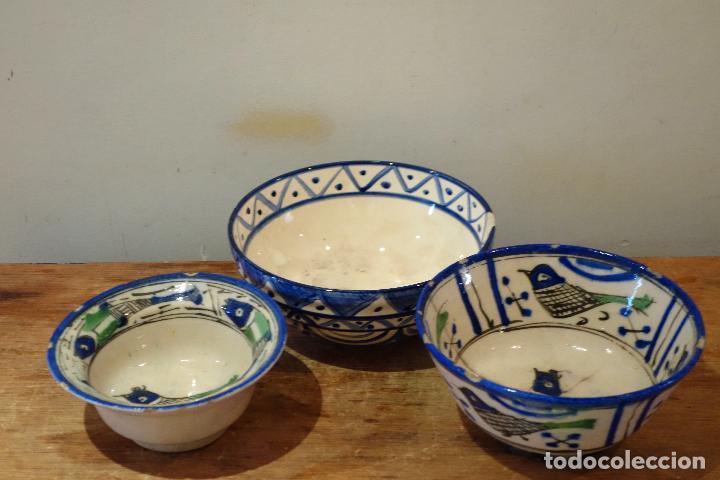 CONJUNTO DE 3 CUENCOS EN CERÁMICA GRANADINA DE FAJALAUZA (S.XIX?) CUENCO LEBRILLO BOL (Antigüedades - Porcelanas y Cerámicas - Fajalauza)